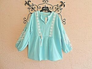 SOFT SURROUNDINGS BLUE BEADED EMBROIDERED NOTCHED TASSLED NECK TUNIC SIZE XL