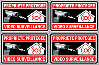 4 X VIDEO SURVEILLANCE PROPRIETE ALARME CAMERA 10cm AUTOCOLLANT STICKER VA050.