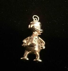 Vintage Gold Charm Pendant, Rare Walt Disney : DONALD : Hallmarked 9ct (ref14)