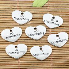 12PCS Tibetan silver tone heart shaped Cheerleading charms EF1790
