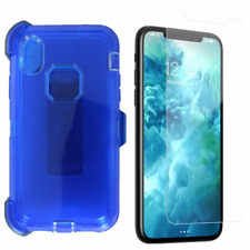 For iPhone Xs Max Transparent Defender Case w/Screen&Clip Fit Otterbox Blue