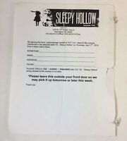 SLEEPY HOLLOW original tv show paperwork ~ COMMUNITY FILMING APPROVAL FORM