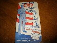Anvil Brand Work 'N Play Clothes 1954 Advertising Memo Book  High Point, N.C gra