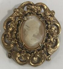 Vintage Florenza Carved Shell Cameo Lady Pendant Brooch Pin