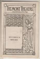 "Bertha Kalich  ""Monna Vanna""  Playbill  1906  BOSTON  Tremont Theatre"