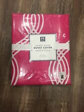New Pottery Barn Dorm Pink Magenta Infinity Stripe Duvet Cover, Full/Queen