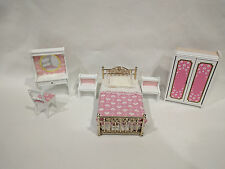 VINTAGE LUNDBY ROSE BEDROOM, VANITY, WARDROBE, END TABLES & BENCH