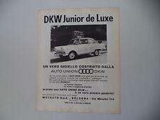 advertising Pubblicità 1962 AUTO UNION DKW JUNIOR DE LUXE