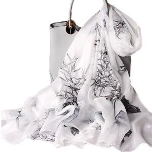 100% Silk Long Scarf Shawls Sunscreen Light Thin Bamboo/lily/magnolia 175*105CM