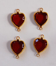 VINTAGE 4 FLAT GLASS HEART PENDANT CONNECTOR BEADS BEAD HEARTS •10mm • Assorted