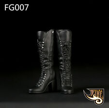"""Fire Girl Toys FG007 1/6 Black Middle Combat Boots For 12"""" Female Figure Body"""