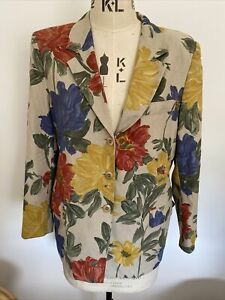 MAX MARA Floral Print Blazer Jacket UK 10