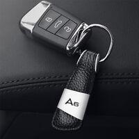 New Stylish Car Logo Black Leather& Alloy Car Keychain Ring Keyfob For Audi A6