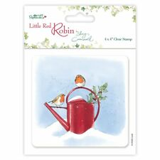 Papermania Christmas Rubber Stamp Little Red Robin Watering Can and Holly 8x8cm
