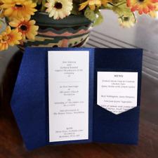 10 POCKETFOLD INVITATIONS INARI DL NAVY BLUE PEARLISED WHITE ENVELOPE + INSERT