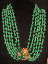 Vintage Miriam Haskell Pendant Necklace~Green Glass/Crystal/RS/GoldTone Filigree