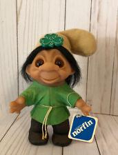 """Norfin Hans 8"""" Dam Troll Doll - Original Tag #1441 - Black Hair - 1980"""