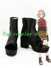 Naruto Sakura Haruno The Last Ninja Cosplay Boots shoes black short Ver #NAR004