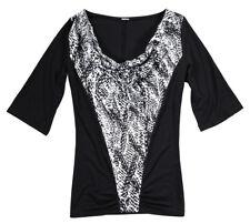 Shirt Gr. 40 Schwarz Weiß Damenshirt Bluse Tunika Top Hemd Neu