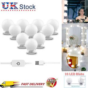 Hollywood Make Up Mirror Lights 10 Led Vanity Dressing Table Bathroom Bulbs USB