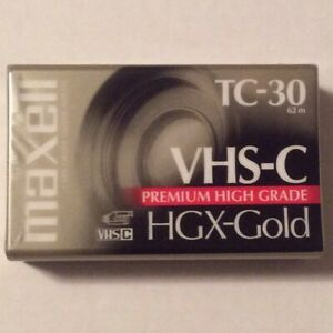Maxell VHS-C HGX-Gold TC-30 Premium High Grade Camcorder Tape  *New & Sealed*