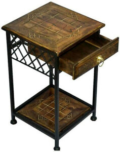 Wrought Iron Contemporary Bedside Table With Drawer Storage For Keys And Notes