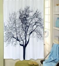 Black Floral Tree Abstract Picture Bathroom Fabric Shower Curtain ss216