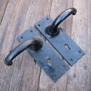 Antique Pair of Reproduction Wrought Iron Lever Door Handles with Keyholes