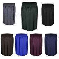 Box Pleated Skirt Girls School Uniform Elasticated Waist School Kids Age 2-18yrs