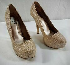 Mix No 6 Sarti Women US 5.5 GOLD GLITTER Platform Heel High Heels Dress Shoes