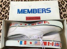 Members Vintage 1980s Men Low Top Sneakers~White Canvas & World Flags~New&Box~10