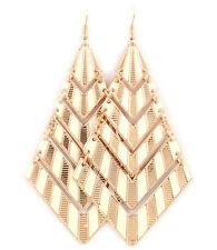 Gold and Enamel Design Oversized Earrings #E06