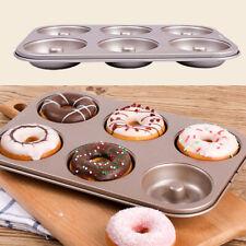 UK 6 Cup Steel Doughnut Donut Bagel Tin Pan Mould Mold Non Stick Anti Warp DIY