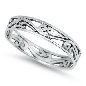 925 Sterling Silver Filigree Style Scroll Band Stacking Stacker Ring 4 mm