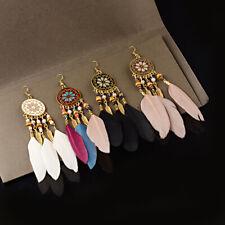 5 Color Bohemian Boho Long Feather Tassel Gold Wings Women Dangle Earrings