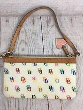 Dooney & Bourke Multi Color DB Logo Wristlet Wallet Purse Bag Zip Keychain Heart