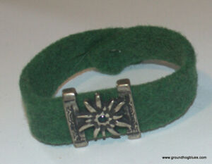Art to Wear Handcrafted Felt Pewter Bracelet to 8 1/2