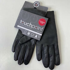 Sz S Fownes Womens Tech Touchpoint Leather Cashmere Lined Gloves NWT Black