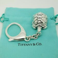 Tiffany&Co. 925 Sterling Silver Nature Turtle Key Chain Key Ring Italy Rare