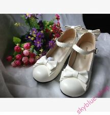 Womens New Bowknot Buckle Strap Mary Janes Block Med Heels Lolita Cosplay Shoes