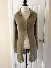 BCBG MAX AZRIA Long Olive Green Crochet Hooded Sweater Cardigan Coat Small