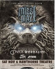 Miss May I 2010 Portland Concert Tour Poster -Metalcore