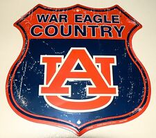 AUBURN TIGERS  WAR EAGLE COUNTRY SHIELD SIGN MAN CAVE FOOTBALL GAME DORM ROOM