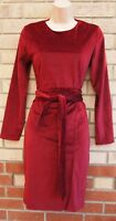 BURGUNDY RED BELTED VELVET FAUX SUEDE LONG SLEEVE BODYCON PARTY PENCIL DRESS S