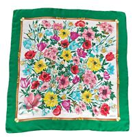 Vintage Gucci Square Silk Scarf Colorful Floral Green Authentic