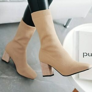Women Fashion Sock Boots Pull On Block Heels Combat Casual Shoes New Ankle Boots