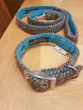 BlossomCo 'Barra' Handmade Harris Tweed And Turquoise Dog Collar And Lead, VGC