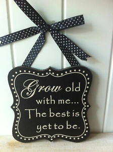 Grow old along with me... hanging sign