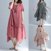 NEW Fashion Women Casual Long Sleeve Baggy Cotton Linen Lang Maxi Dress Kaftan