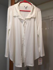 NWT-LuLaRoe XL Off White Long Sleeve Button Up Top